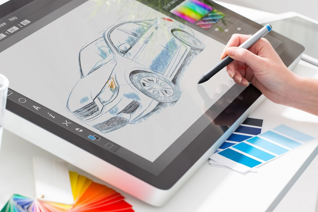 Graphic design with a drawing tablet