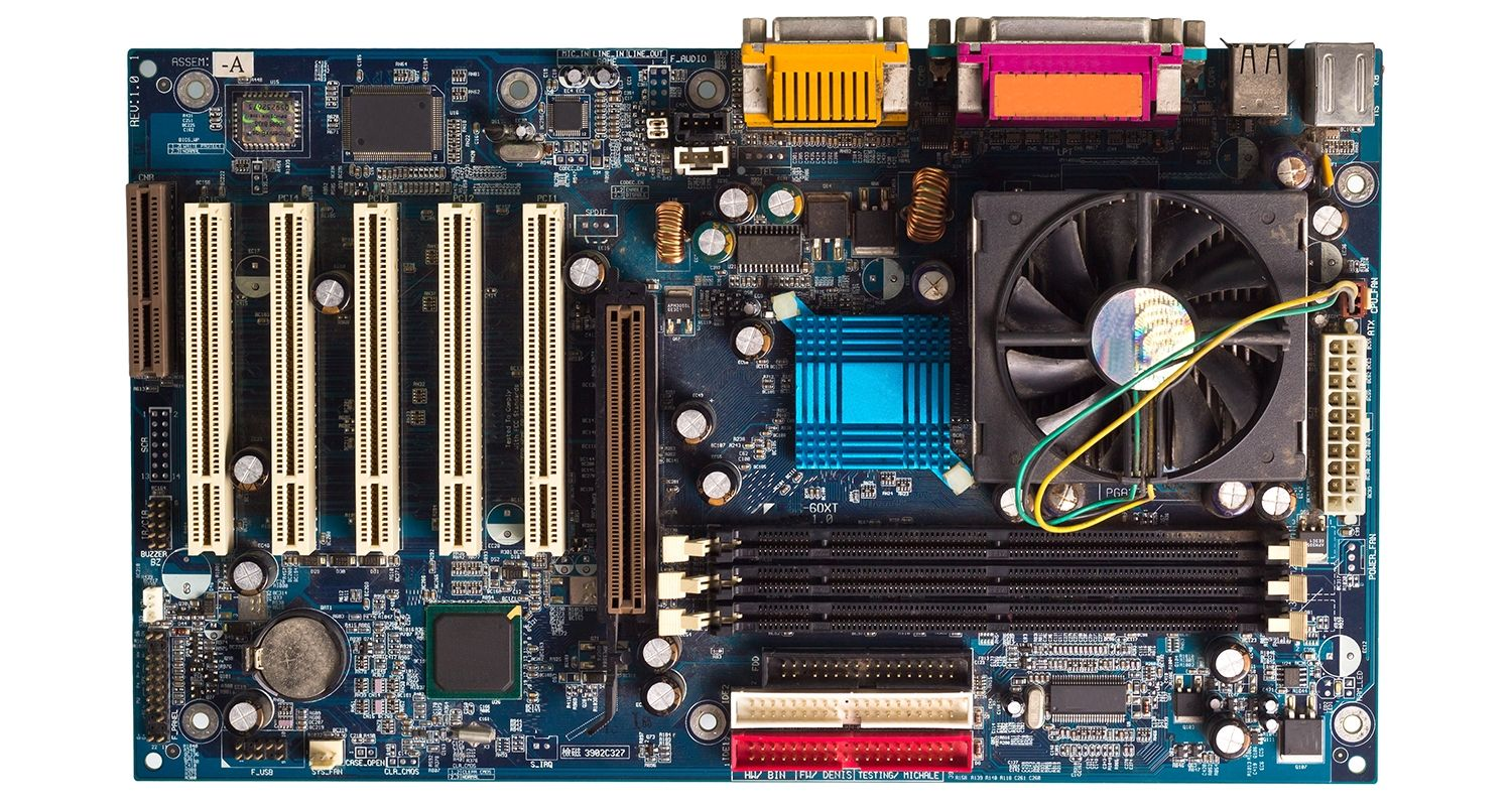 A computer motherboard.