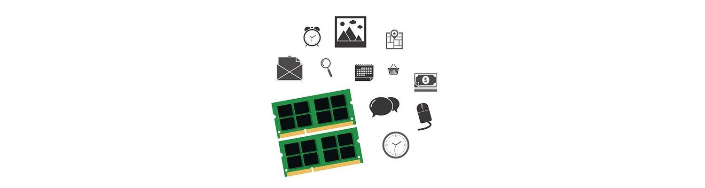Componentes del ordenador e iconos de redes sociales
