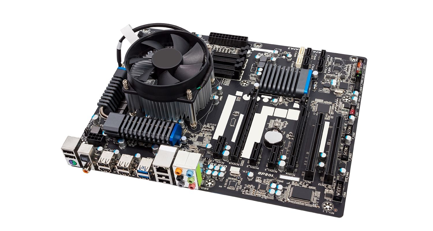 Computer motherboard on a white background