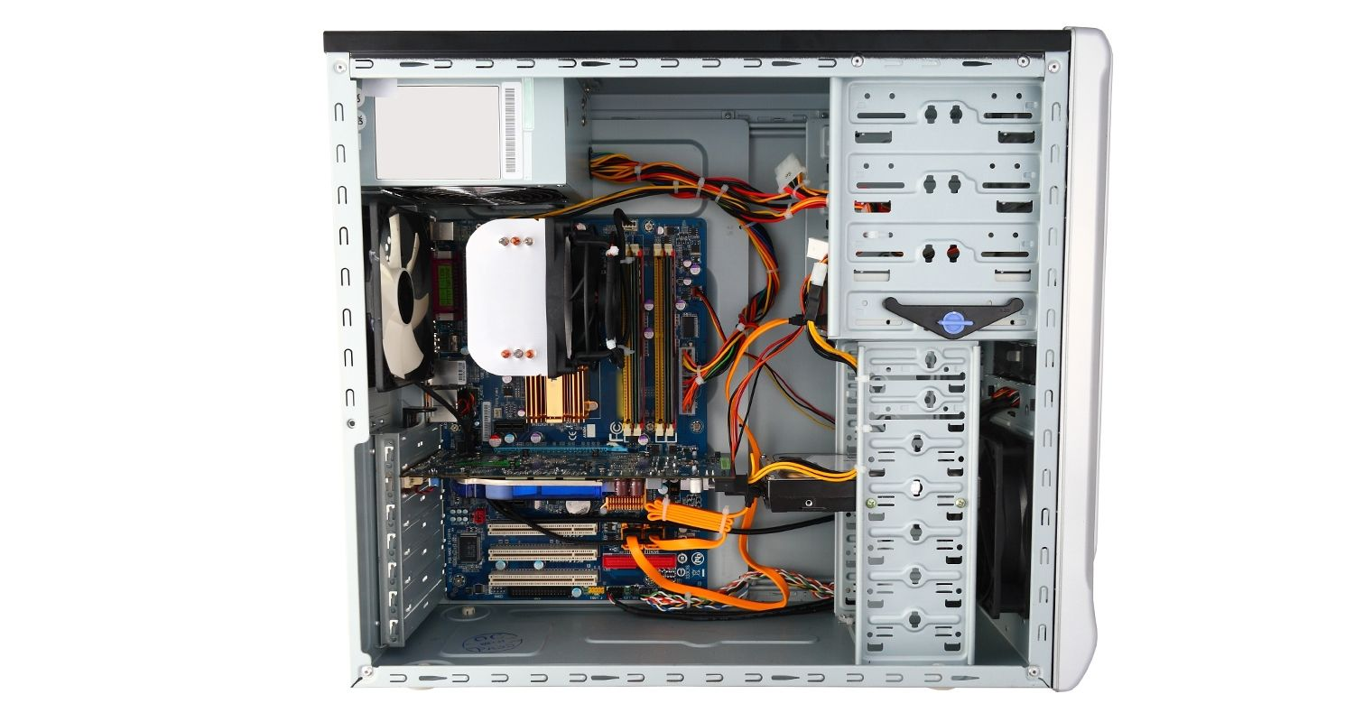 Computer with side of case removed and internal components exposed