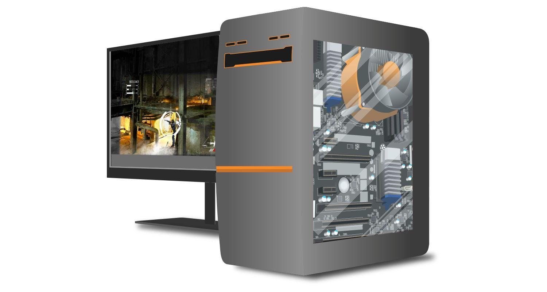 Gaming-Computer und Monitor mit einem Spielverlauf