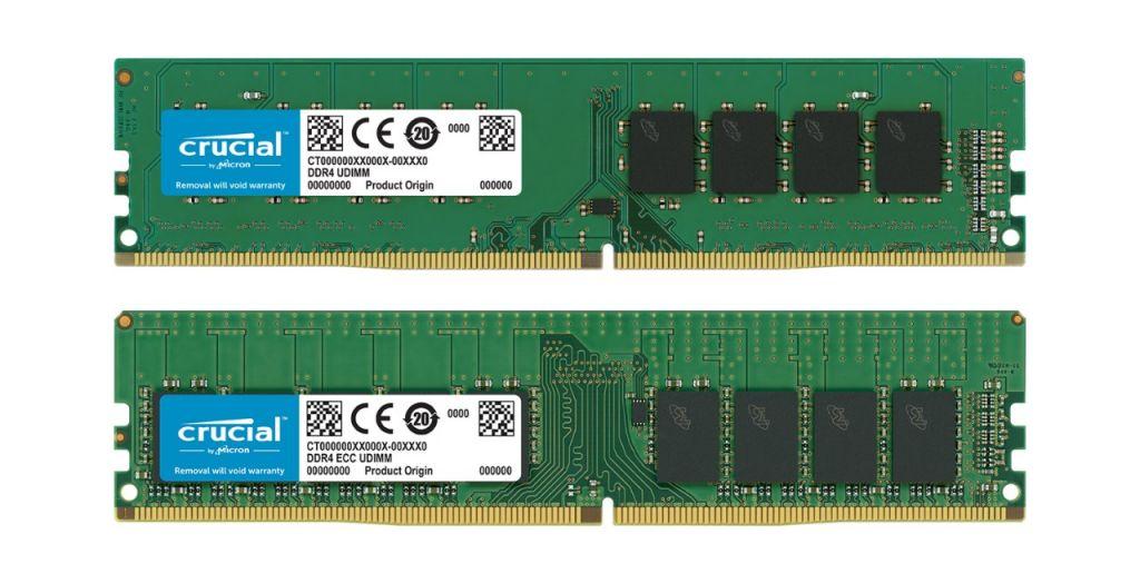 A non-ECC Crucial RAM memory module and an ECC Crucial RAM memory module