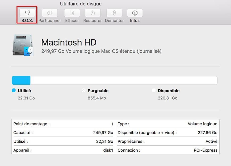 Capture d'écran de la fenêtre contextuelle de l'Utilitaire de disque d'un Mac