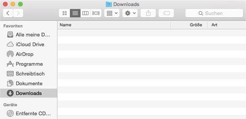 Screenshot des Popup-Fensters für den Ordner Downloads auf einem Mac