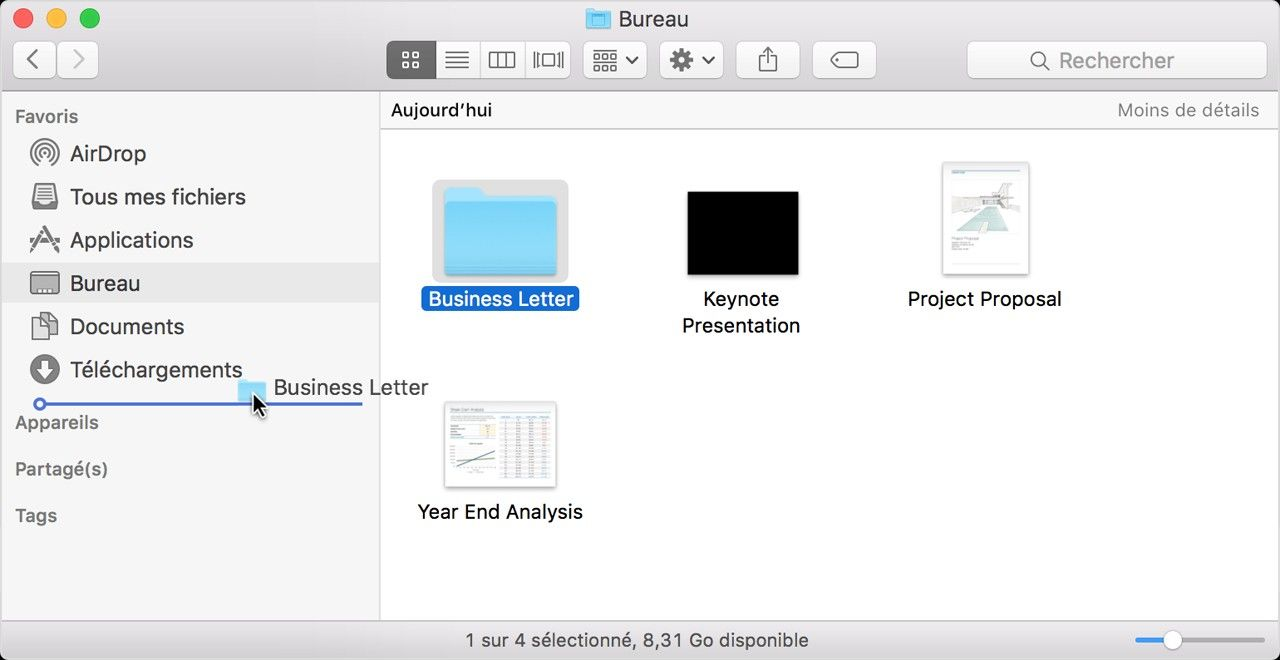Capture d'écran de la fenêtre contextuelle du dossier Téléchargements sous Mac