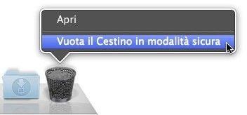 Cattura schermo dell'opzione Svuota Cestino su un Mac