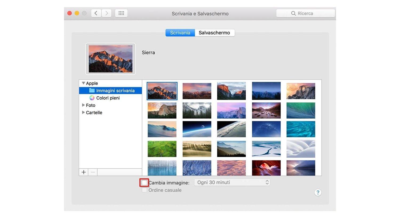 Screenshot del Desktop e della finestra pop-up dello screensaver su un Mac