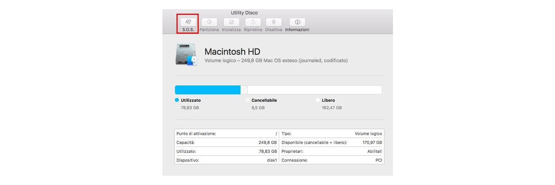 Cattura schermo della finestra di pop-up della Utility del Disco su un Mac