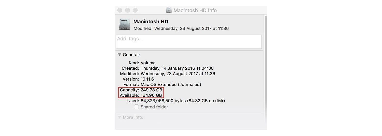 Macintosh HDの[情報]ウインドウ