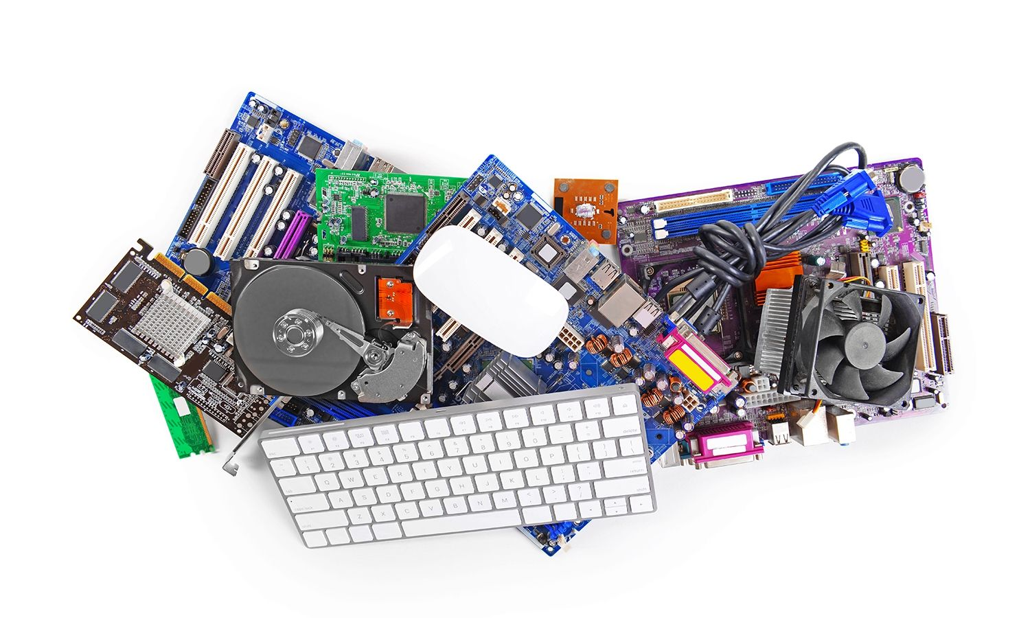 Collection of computer hardware, including a keyboard and mouse