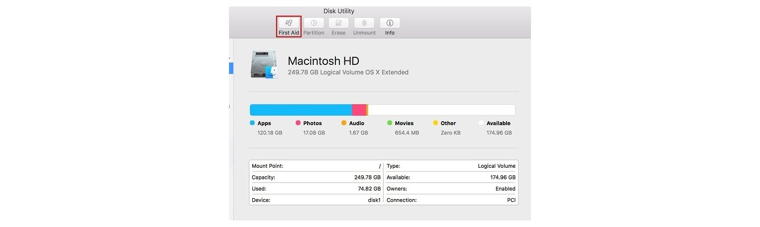Screenshot of the Disk Utility pop-up window on a Mac
