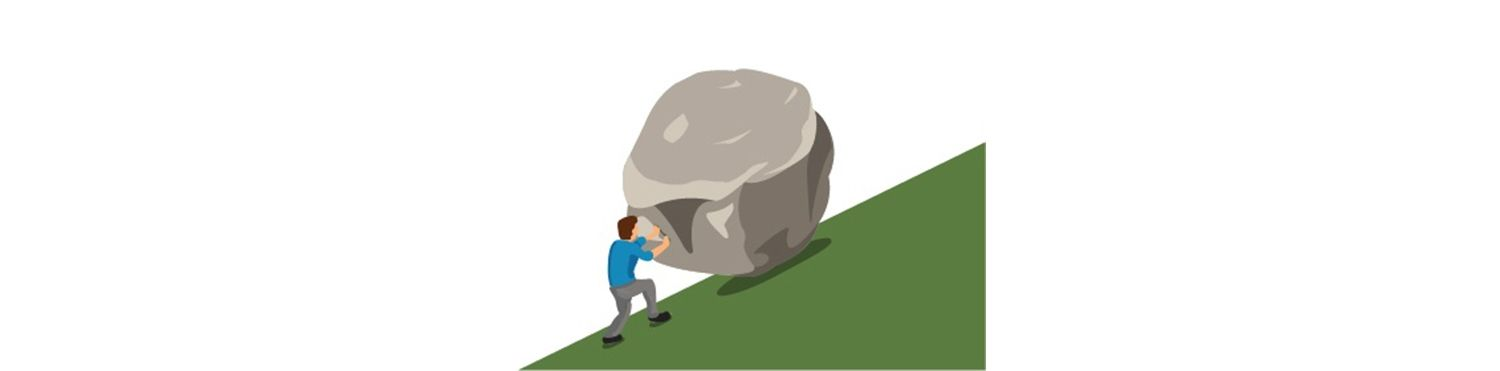 Man pushes a boulder uphill to indicate how a slow Mac system can feel