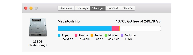 Mac 的儲存資訊。