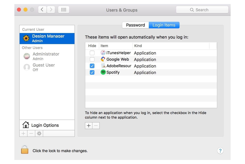 Inicio de sesión en Mac.