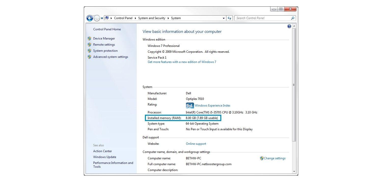 Ventana emergente de sistema de Windows 7