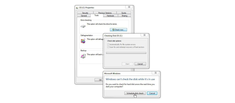 Windows 7 磁碟檢查視窗