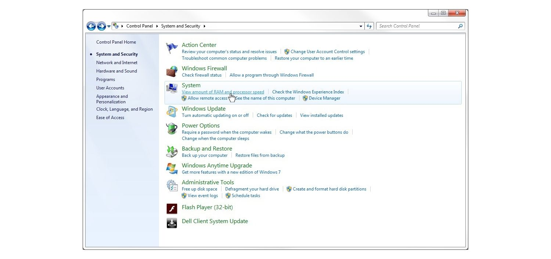 Windows 7 System & Security Window