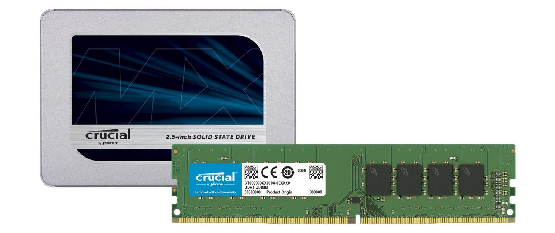 Crucial SSDとRAMメモリモジュール
