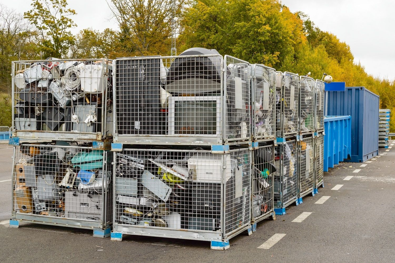 Electronics waste, including computers, are discarded in recycling bins