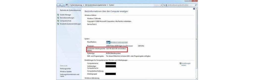 Screenshot für Überprüfung, wie viel Arbeitsspeicher ein Windows-Computer hat.