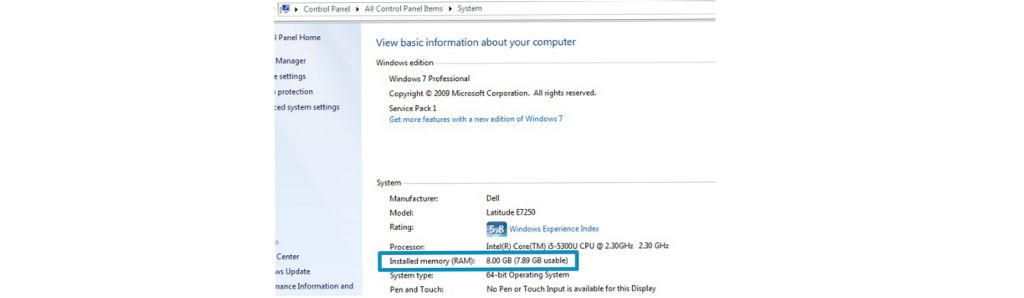 Screenshot of how to check how much memory a Windows computer has.