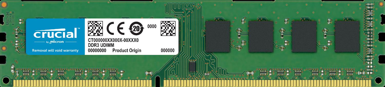 흰색 배경의 컴퓨터에서 분리된 Crucial RAM 메모리